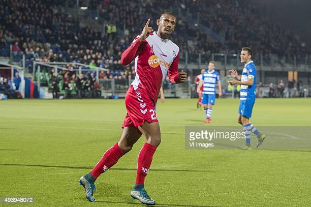Sebastien Haller of FC Utrecht celebrate his goal during the Dutch Eredivisie match between PEC Zwolle and FC Utrecht at the IJsseldelta stadium on...
