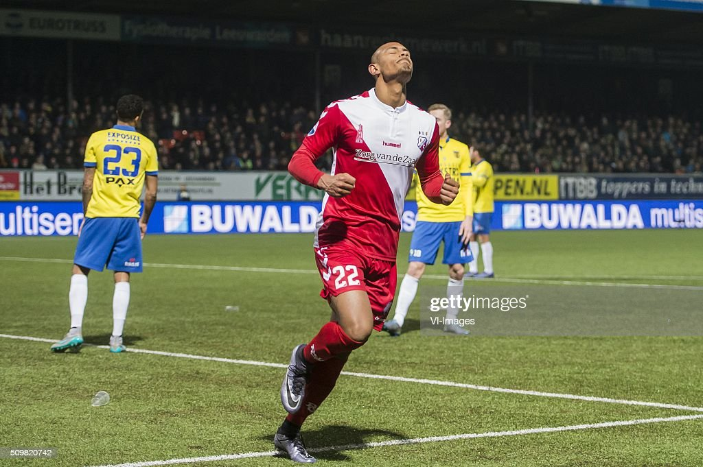 Sebastien Haller of FC Utrecht celebrate his goal during the Dutch Eredivisie match between SC Cambuur Leeuwarden and FC Utrecht at the Cambuur Stadium on February 12, 2016 in Leeuwarden, The Netherlands