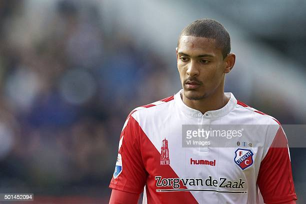 Sebastien Haller of FC Utrecht during the Dutch Eredivisie match between FC Utrecht and Ajax Amsterdam at the Galgenwaard Stadium on December 13 2015...