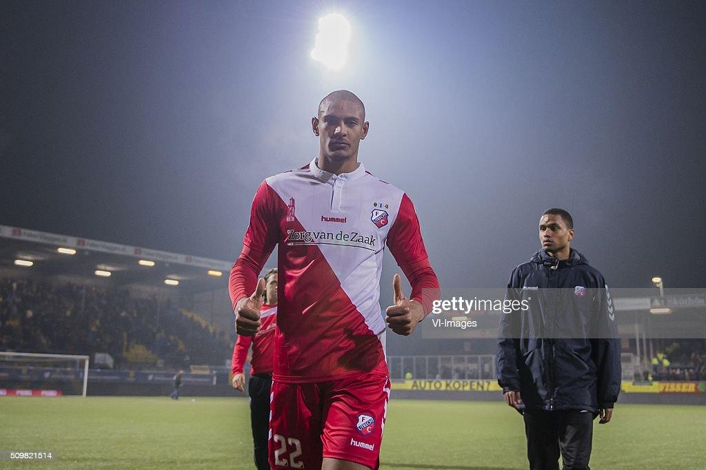Sebastien Haller of FC Utrecht during the Dutch Eredivisie match between SC Cambuur Leeuwarden and FC Utrecht at the Cambuur Stadium on February 12, 2016 in Leeuwarden, The Netherlands