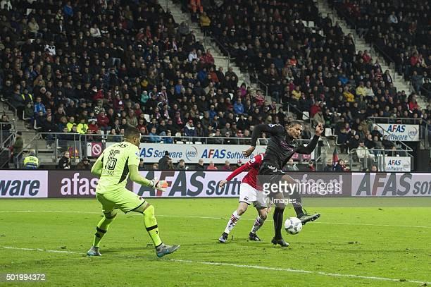 Sebastien Haller of FC Utrecht scores during the Dutch Eredivisie match between AZ Alkmaar and FC Utrecht at AFAS stadium on December 19 2015 in...