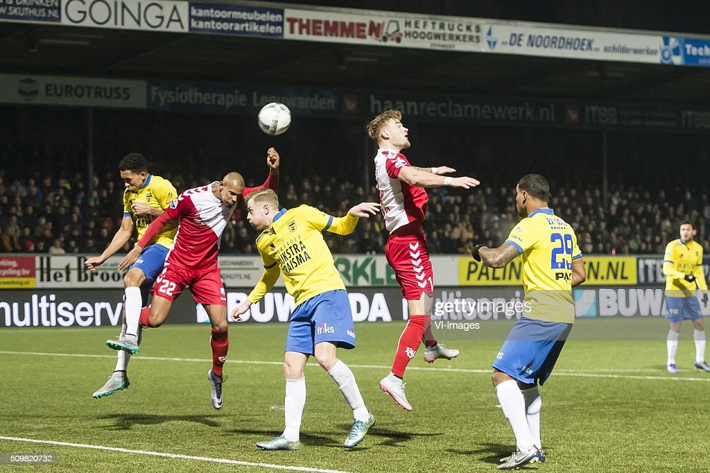 Sebastien Haller of FC Utrecht scores during the Dutch Eredivisie match between SC Cambuur Leeuwarden and FC Utrecht at the Cambuur Stadium on February 12, 2016 in Leeuwarden, The Netherlands