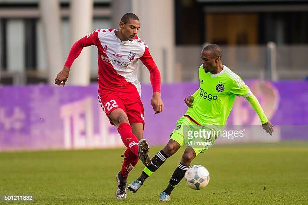 Sebastien Haller of FC Utrecht Thulani Serero of Ajax during the Dutch Eredivisie match between FC Utrecht and Ajax Amsterdam at the Galgenwaard...
