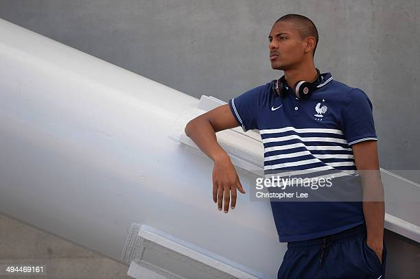 Sebastien Haller of France watches the earlier game as he prepares for his match during the Toulon Tournament Group A match between France v Portugal...