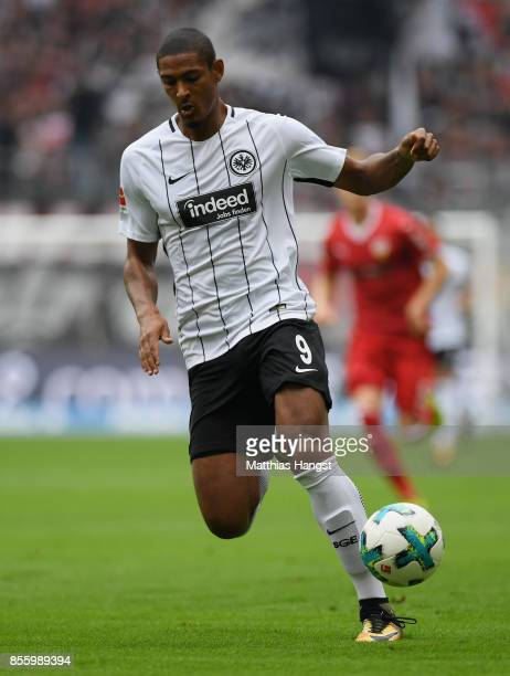 Sebastien Haller of Frankfurt controls the ball during the Bundesliga match between Eintracht Frankfurt and VfB Stuttgart at CommerzbankArena on...