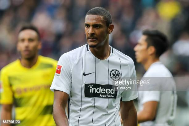 Sebastien Haller of Frankfurt looks on during the Bundesliga match between Eintracht Frankfurt and Borussia Dortmund at CommerzbankArena on October...