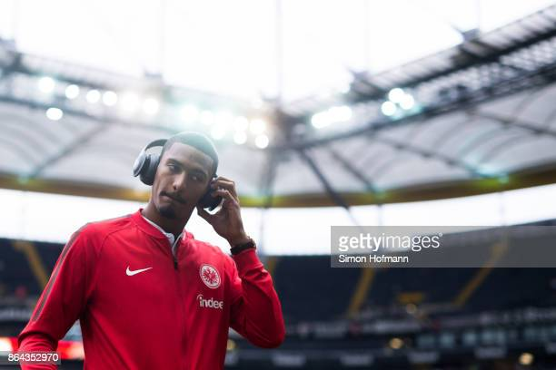 Sebastien Haller of Frankfurt looks on prior to the Bundesliga match between Eintracht Frankfurt and Borussia Dortmund at CommerzbankArena on October...