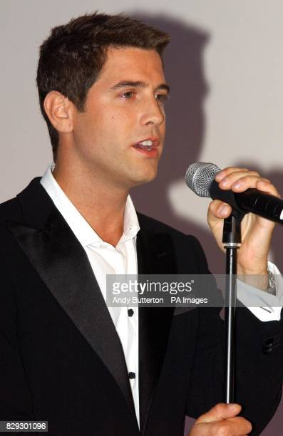 Sebastien Izambard vox populi from France performs during the launch of pop svengali Simon Cowell's new band Il Divo at the Mandarin Oriental in...