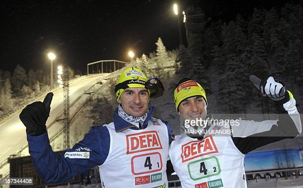 Sebastien Lacroix and Jason Lamy Chappuis of team France I gesture after placing third in the Nordic Combined Team Sprint 2 x 75 km competition of...