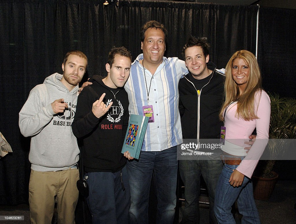 Sebastien Lefebvre Chuck Comeau and Pierre Bouvier of Simple Plan with Dr Gary