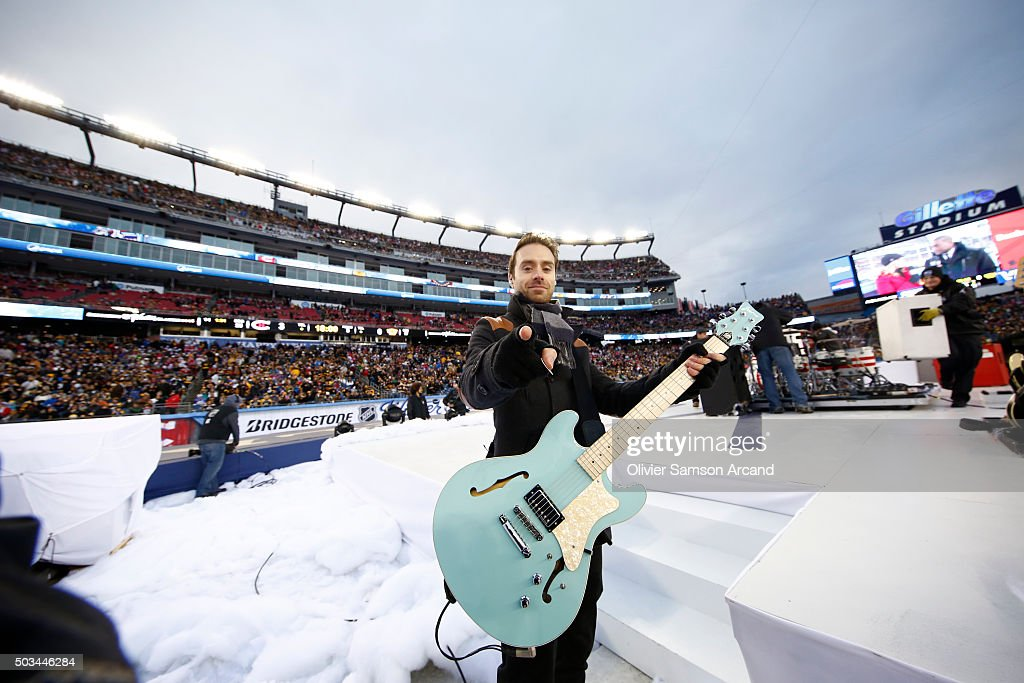 Sebastien Lefebvre of Simple Plan before performing between the periods of the Montreal Canadiens against the Boston Bruins during the 2016...