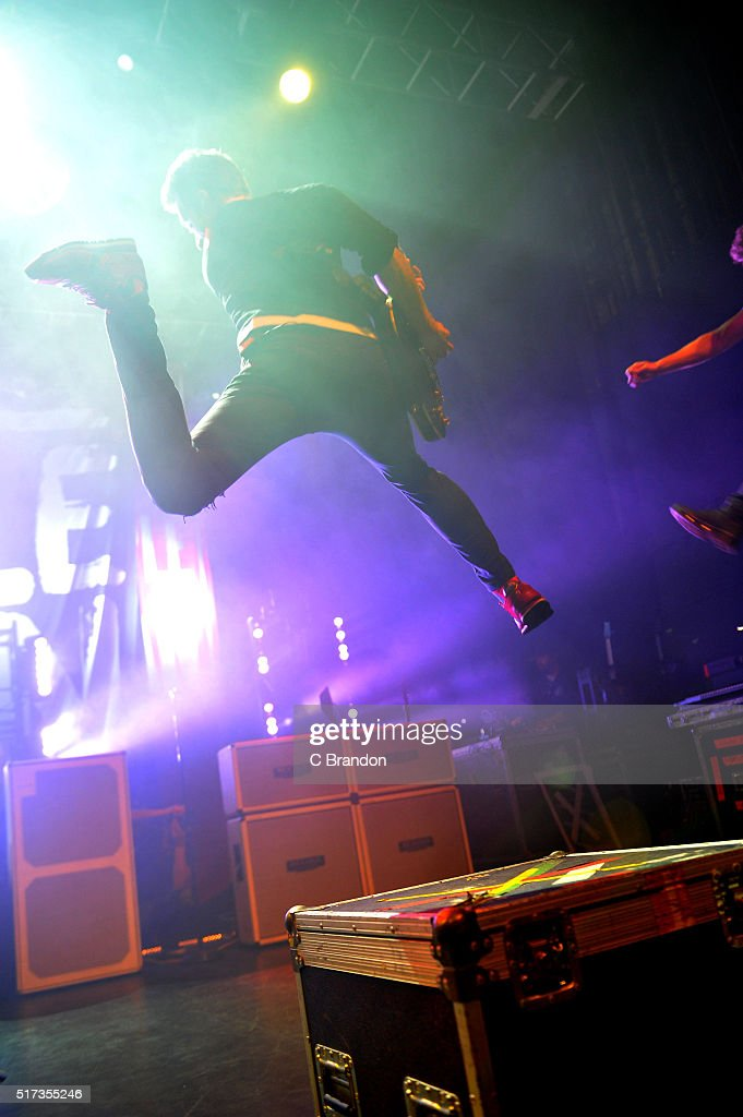 Sebastien Lefebvre of Simple Plan performs on stage at the O2 Forum Kentish Town on March 24 2016 in London England