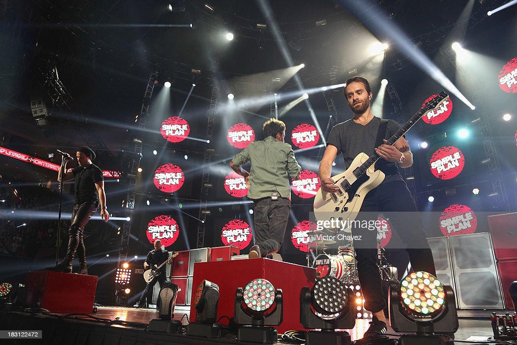 Sebastien Lefebvre of Simple Plan performs on stage during the MTV World Stage Monterrey Mexico 2013 at Arena Monterrey on October 3 2013 in...