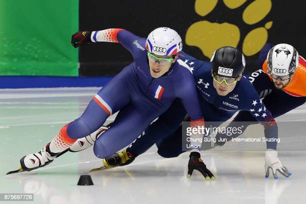 Sebastien Lepape of France and JohnHenry Krueger of United States compete in the Men 1500 Final B during the Audi ISU World Cup Short Track Speed...