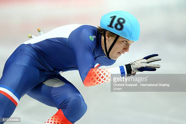 Sebastien Lepape of France during men 500m semifinal heat two during Day 3 of ISU Short Track World Cup at Sportboulevard on February 14 2016 in...