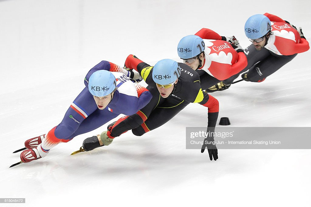 Sebastien Lepape of France, Jens Almey of Belgium, <a gi-track='captionPersonalityLinkClicked' href=/galleries/search?phrase=Charles+Hamelin&family=editorial&specificpeople=820316 ng-click='$event.stopPropagation()'>Charles Hamelin</a> and Samuel Girard of Canada compete in the Men 1500m Semifinals during the ISU World Short Track Speed Skating Championships 2016 at Mokdong Icerink on March 12, 2016 in Seoul, South Korea.