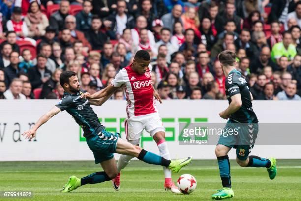 Sebastien Locigno of Go Ahead Eagles David Neres of Ajaxduring the Dutch Eredivisie match between Ajax Amsterdam and Go Ahead Eagles at the Amsterdam...