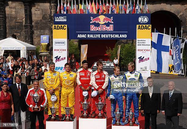 Sebastien Loeb and Daniel Elena Francois Duval and Patrick Pivato and Mikko Hirvonen and Jarmo Lehtinen on the podium during Leg 3 of the ADAC Rallye...