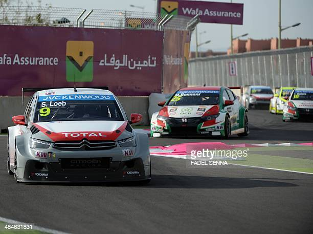 Sebastien Loeb in his Citroen CElysee competes during the Marrakech WTCC Fia World Touring Car championship race on April 13 in Marrakesh AFP PHOTO /...