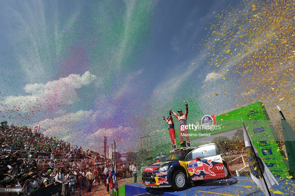 <a gi-track='captionPersonalityLinkClicked' href=/galleries/search?phrase=Sebastien+Loeb&family=editorial&specificpeople=203172 ng-click='$event.stopPropagation()'>Sebastien Loeb</a> of France and <a gi-track='captionPersonalityLinkClicked' href=/galleries/search?phrase=Daniel+Elena&family=editorial&specificpeople=212897 ng-click='$event.stopPropagation()'>Daniel Elena</a> of Monaco celebrate their victory during day three of the WRC Rally Mexico on March 11, 2012 in Leon, Mexico.