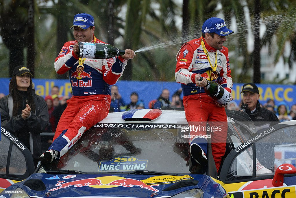 <a gi-track='captionPersonalityLinkClicked' href=/galleries/search?phrase=Sebastien+Loeb&family=editorial&specificpeople=203172 ng-click='$event.stopPropagation()'>Sebastien Loeb</a> of France and <a gi-track='captionPersonalityLinkClicked' href=/galleries/search?phrase=Daniel+Elena&family=editorial&specificpeople=212897 ng-click='$event.stopPropagation()'>Daniel Elena</a> of Monaco celebrate their victory during Day Three of the WRC Spain on November 11, 2012 in Salou ,Spain.