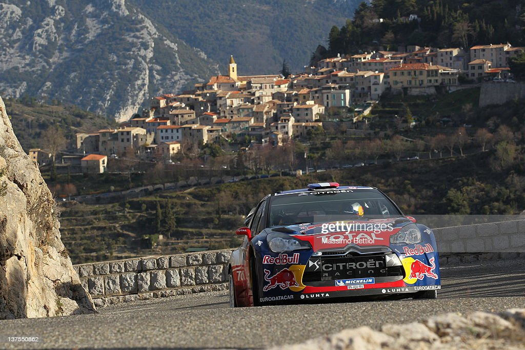 Sebastien Loeb of France and Daniel Elena of Monaco compete in their Citroen Total WRT Citroen DS3 WRC during Day Five of the WRC Rallye Monte-Carlo on January 22, 2012 in Monte-Carlo, Monaco.
