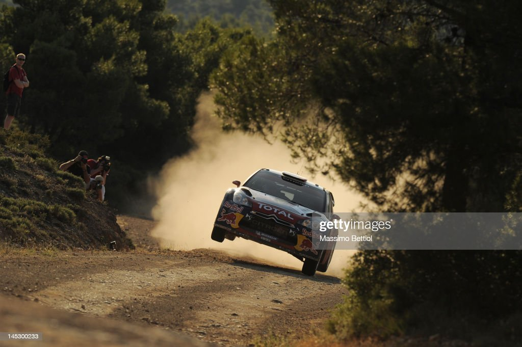 Sebastien Loeb of France and <a gi-track='captionPersonalityLinkClicked' href=/galleries/search?phrase=Daniel+Elena&family=editorial&specificpeople=212897 ng-click='$event.stopPropagation()'>Daniel Elena</a> of Monaco compete in their Citroen Total WRT Citroen Ds3 WRC during Day One of the WRC Rally Acropolis on May 25, 2012 in Loutraki , Greece.