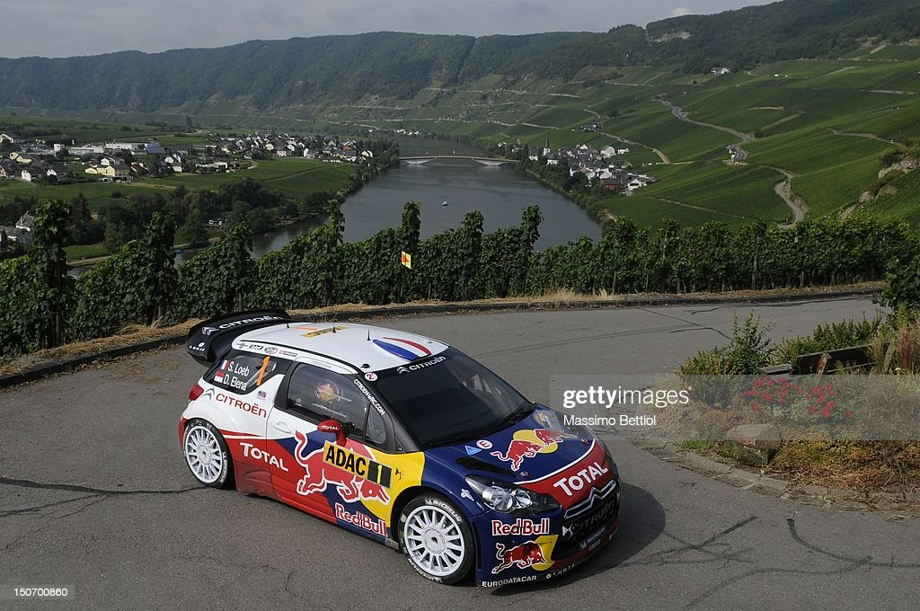 <a gi-track='captionPersonalityLinkClicked' href=/galleries/search?phrase=Sebastien+Loeb&family=editorial&specificpeople=203172 ng-click='$event.stopPropagation()'>Sebastien Loeb</a> of France and <a gi-track='captionPersonalityLinkClicked' href=/galleries/search?phrase=Daniel+Elena&family=editorial&specificpeople=212897 ng-click='$event.stopPropagation()'>Daniel Elena</a> of Monaco compete in their Citroen Total WRT Citroen Ds3 WRC during Day 1 of the WRC Rally Germany on August 24, 2012 in Trier , Germany.