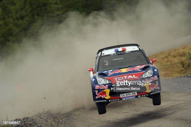 Sebastien Loeb of France and Daniel Elena of Monaco compete in their Citroen Total WRT during the Shakedown of the WRC Wales Rally GB on September 12...
