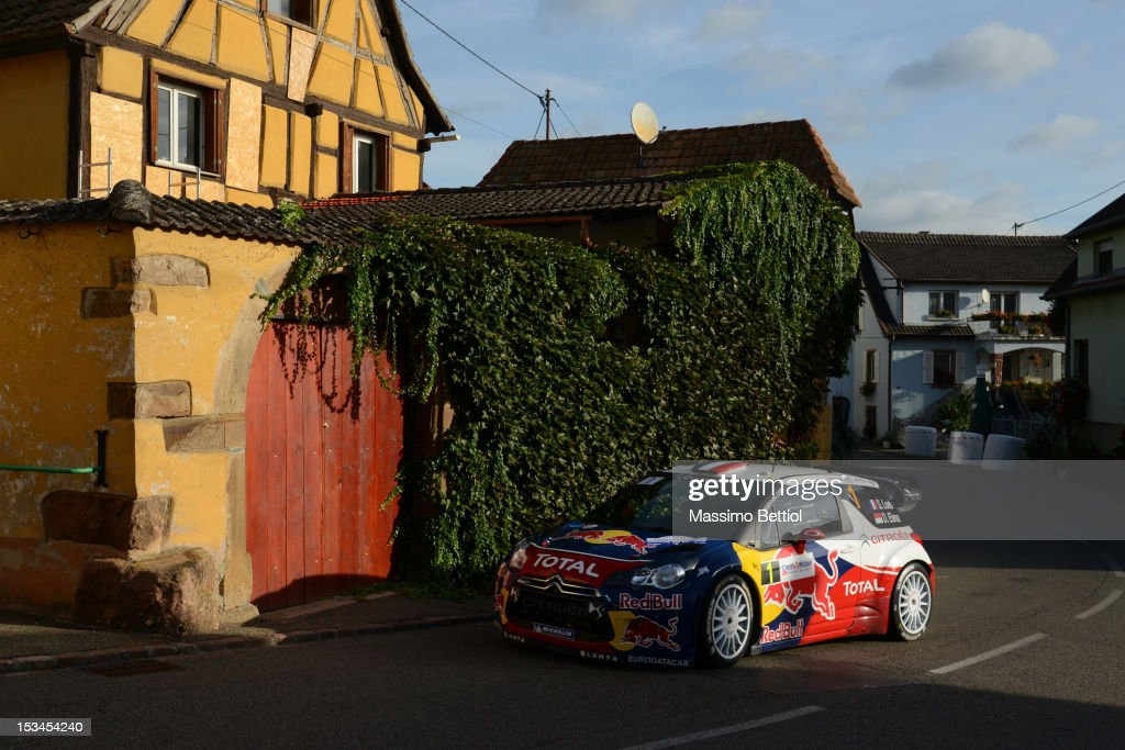 Sebastien Loeb of France and Daniel Elena of Monaco compete in their Citroen Total WRT Citroen DS3 WRC during Day One of the WRC Rally of France on October 05, 2012 in Strasbourg, France.