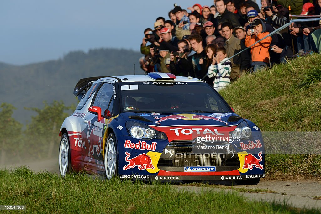 <a gi-track='captionPersonalityLinkClicked' href=/galleries/search?phrase=Sebastien+Loeb&family=editorial&specificpeople=203172 ng-click='$event.stopPropagation()'>Sebastien Loeb</a> of France and <a gi-track='captionPersonalityLinkClicked' href=/galleries/search?phrase=Daniel+Elena&family=editorial&specificpeople=212897 ng-click='$event.stopPropagation()'>Daniel Elena</a> of Monaco compete in their Citroen Total WRT Citroen DS3 WRC during Day Two of the WRC France on October 06, 2012 in Strasbourg , France.