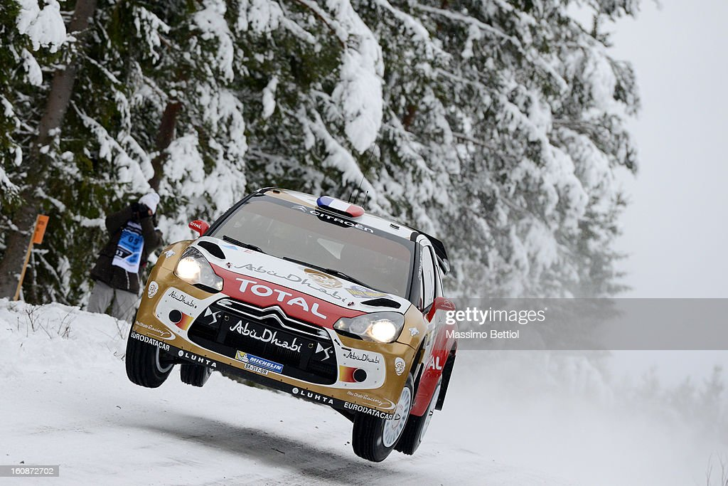 <a gi-track='captionPersonalityLinkClicked' href=/galleries/search?phrase=Sebastien+Loeb&family=editorial&specificpeople=203172 ng-click='$event.stopPropagation()'>Sebastien Loeb</a> of France and <a gi-track='captionPersonalityLinkClicked' href=/galleries/search?phrase=Daniel+Elena&family=editorial&specificpeople=212897 ng-click='$event.stopPropagation()'>Daniel Elena</a> of Monaco compete in their Citroen Total Abu Dhabi WRT Citroen DS3 WRC during the Shakedown of the WRC Sweden on February 07, 2013 in Karlstad, Sweden.