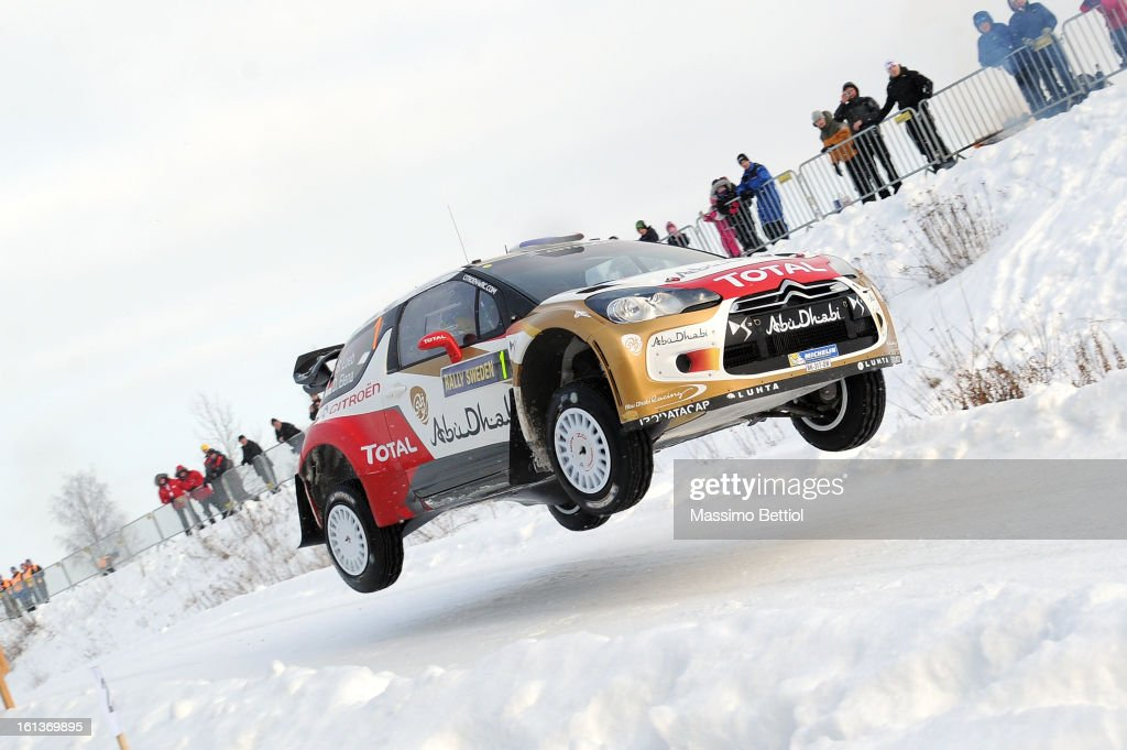 Sebastien Loeb of France and Daniel Elena of Monaco compete in their Citroen Total Abu Dhabi WRT Citroen DS3 WRC during Day Three of the WRC Sweden on February 10 , 2013 in Karlstad , Sweden.