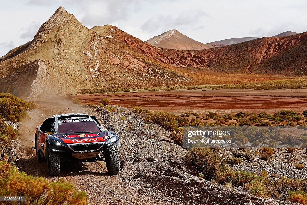 Sebastien Loeb of France and Daniel Elena of Monaco in the PEUGEOT 2008 DKR for TEAM PEUGEOT TOTAL compete on day 4 in the San Salvador de Jujuy stage four of the 2016 Dakar Rally on January 6, 2016 close to Purmamarca, Argentina.