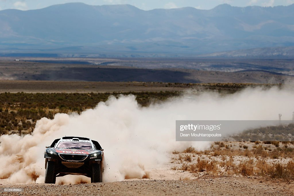 Sebastien Loeb of France and Daniel Elena of Monaco in the PEUGEOT 2008 DKR for TEAM PEUGEOT TOTAL compete on day 5 from Jujuy in Argentina to Uyuni in Bolivia during stage five of the 2016 Dakar Rally on January 7, 2016 in Villazon, Bolivia .