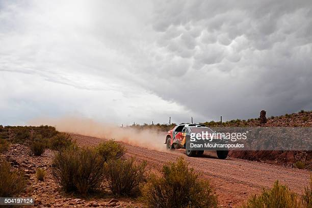 Sebastien Loeb of France and Daniel Elena of Monaco in the PEUGEOT 2008 DKR for TEAM PEUGEOT TOTAL competes on day 7 stage seven from Uyuni in...