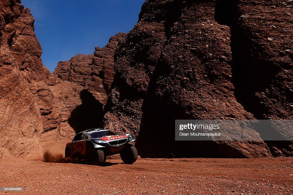 Sebastien Loeb of France and Daniel Elena of Monaco in the PEUGEOT 2008 DKR for TEAM PEUGEOT TOTAL compete on day 9 stage eight from Salta to Bellen during the 2016 Dakar Rally on January 9, 2016 in near San Rafae Salta, Argentina.