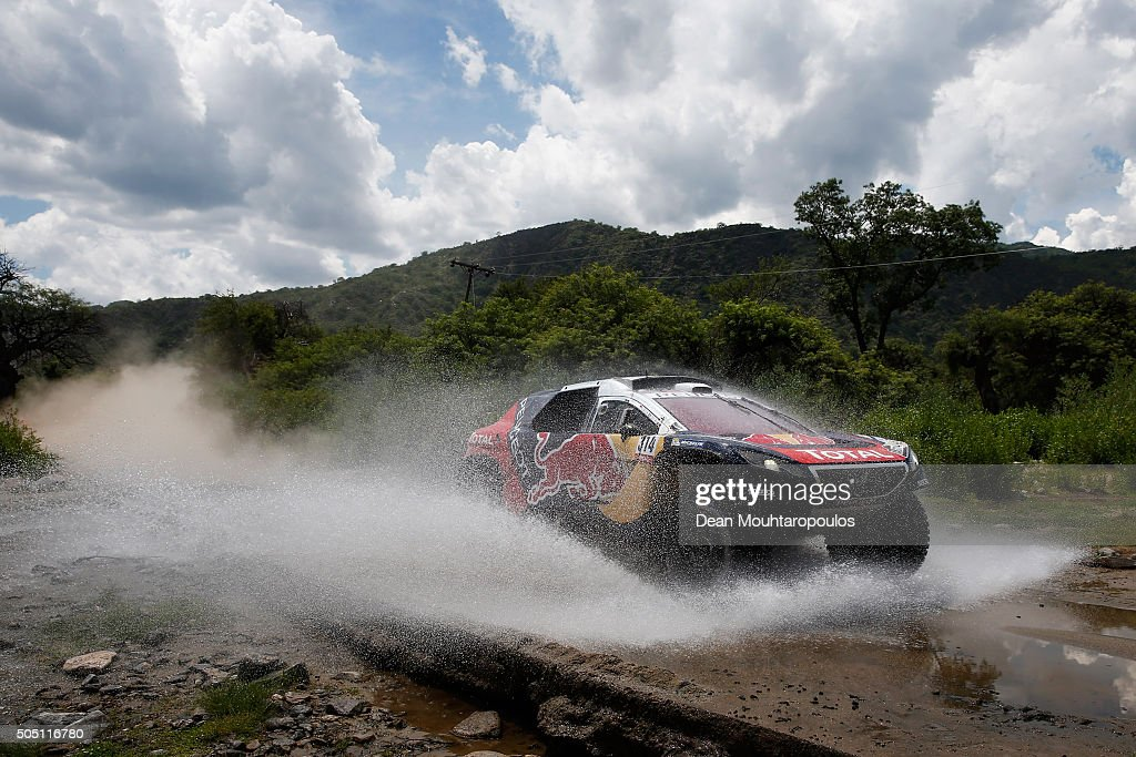 <a gi-track='captionPersonalityLinkClicked' href=/galleries/search?phrase=Sebastien+Loeb&family=editorial&specificpeople=203172 ng-click='$event.stopPropagation()'>Sebastien Loeb</a> of France and <a gi-track='captionPersonalityLinkClicked' href=/galleries/search?phrase=Daniel+Elena&family=editorial&specificpeople=212897 ng-click='$event.stopPropagation()'>Daniel Elena</a> of Monaco in the PEUGEOT 2008 DKR for TEAM PEUGEOT TOTAL compete on day 13 / stage twelve between San Juan to Villa Carlos Paz during the 2016 Dakar Rally on January 15, 2016 near Serrezuela, Argentina.