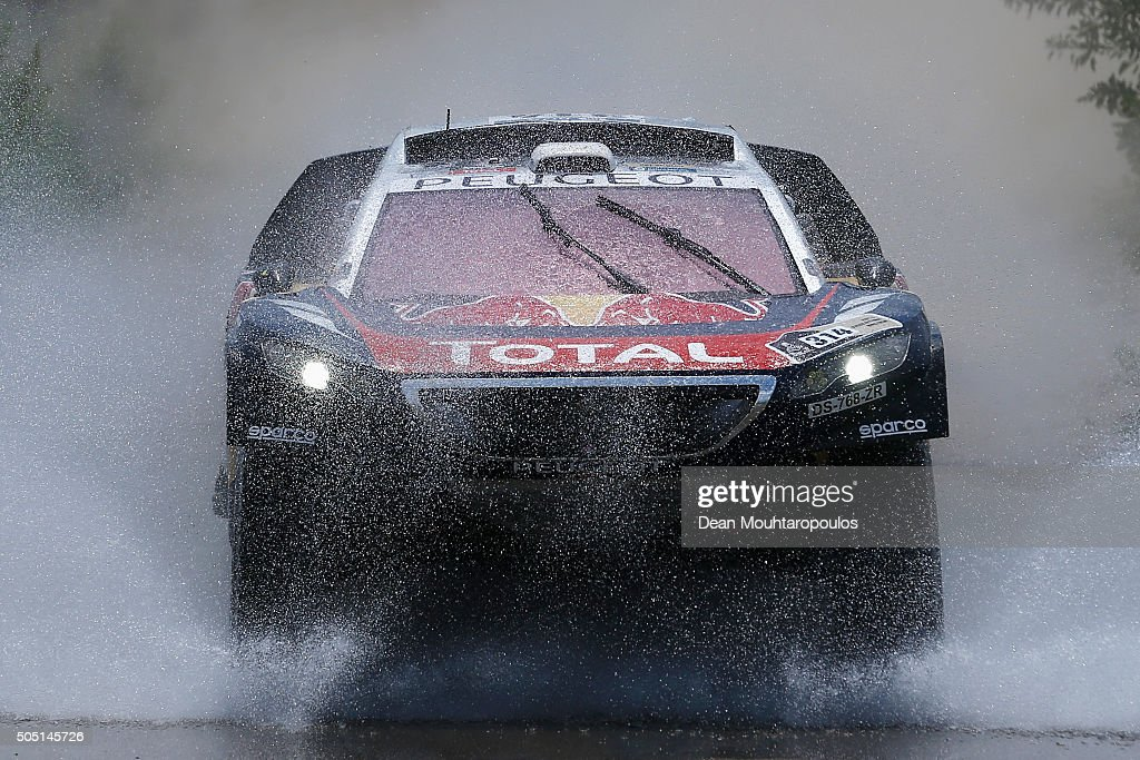 Sebastien Loeb of France and Daniel Elena of Monaco in the PEUGEOT 2008 DKR for TEAM PEUGEOT TOTAL compete on day 13 / stage twelve between San Juan to Villa Carlos Paz during the 2016 Dakar Rally on January 15, 2016 near Serrezuela, Argentina.