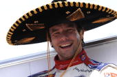 Sebastien Loeb of France winner of the WRC Rally Mexico is wearing the typical sombrero during the final podium of the WRC Rally Mexico on March 7...
