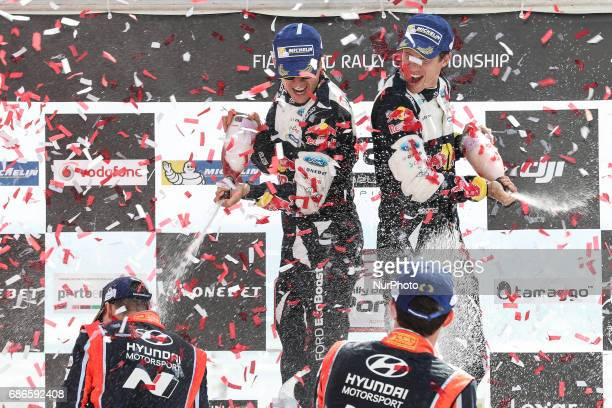 Sebastien Ogier and Julien Ingrassia 1th Thierry Neuville and Nicolas Gilsoul 2th during the Podium Ceremony of WRC Vodafone Rally de Portugal 2017...