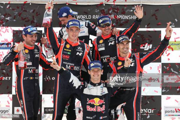Sebastien Ogier and Julien Ingrassia 1th Thierry Neuville and Nicolas Gilsoul 2th and Dani Sordo and Marc Marti 3th during the Podium Ceremony of WRC...