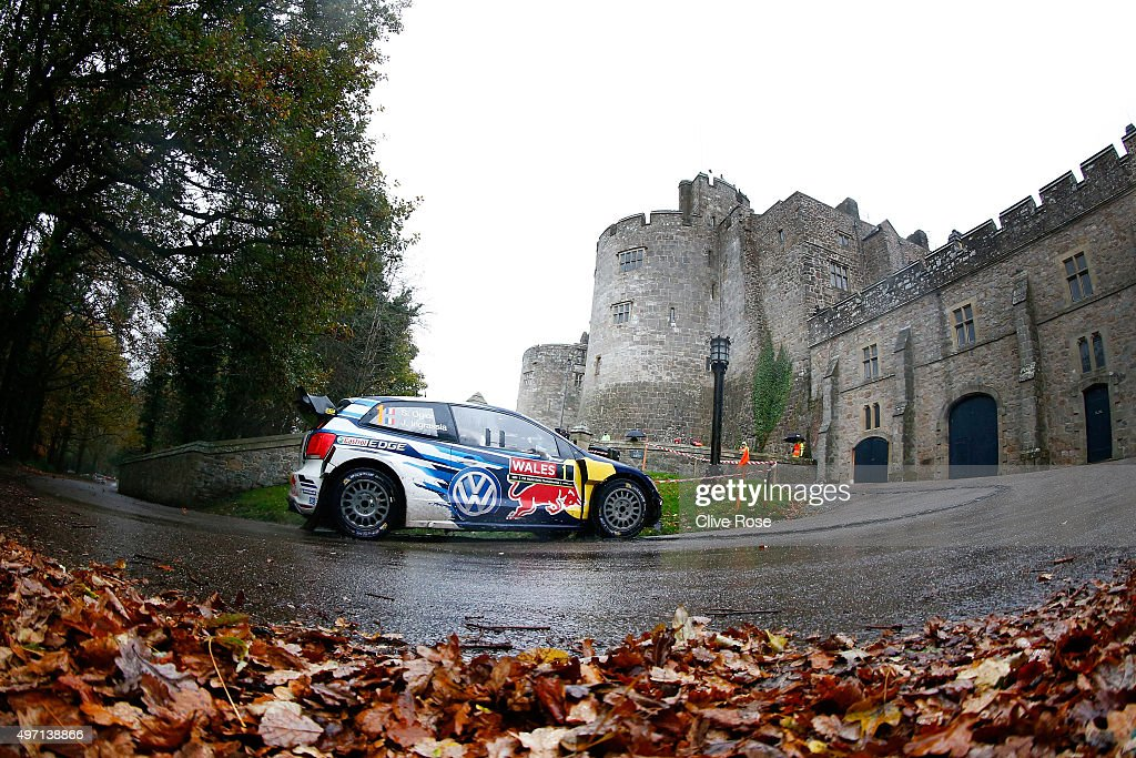 Sebastien Ogier and Julien Ingrassia of France drive the Volkswagen Motosport Polo R WRC during the Chirk Castle stage of the FIA World Rally Championship Great Britain on November 14, 2015 in Chirk, Wales.