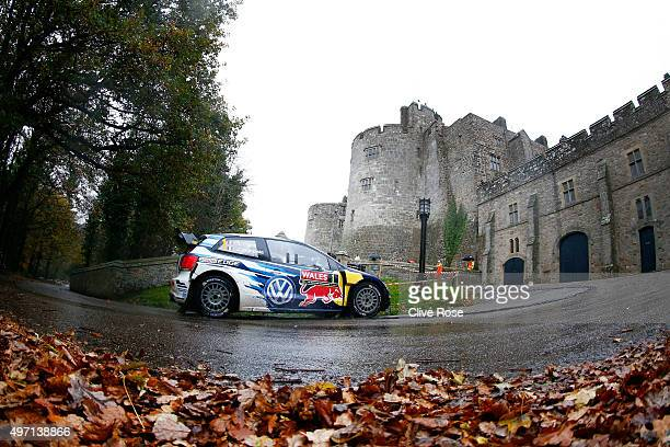 Sebastien Ogier and Julien Ingrassia of France drive the Volkswagen Motosport Polo R WRC during the Chirk Castle stage of the FIA World Rally...