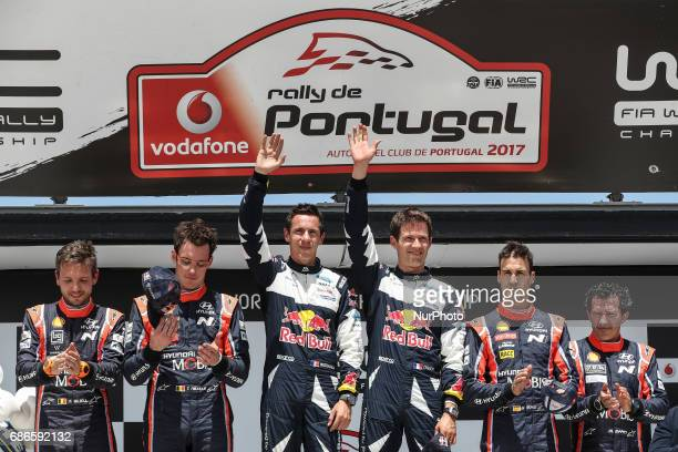 Sebastien Ogier and Julien Ingrassia Thierry Neuville and Nicolas Gilsoul and Dani Sordo and Marc Marti during the Fafe Power Stage Podium of WRC...