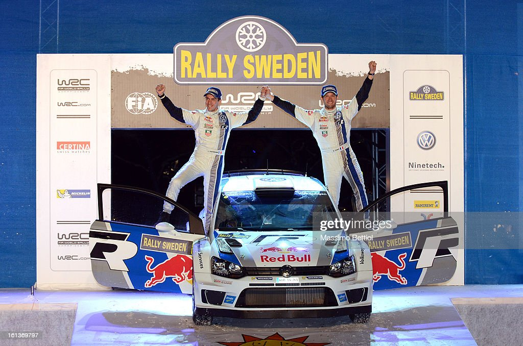 Sebastien Ogier of France and Julien Ingrassia of France celebrate their victory in the final podium during Day Three of the WRC Sweden on February...