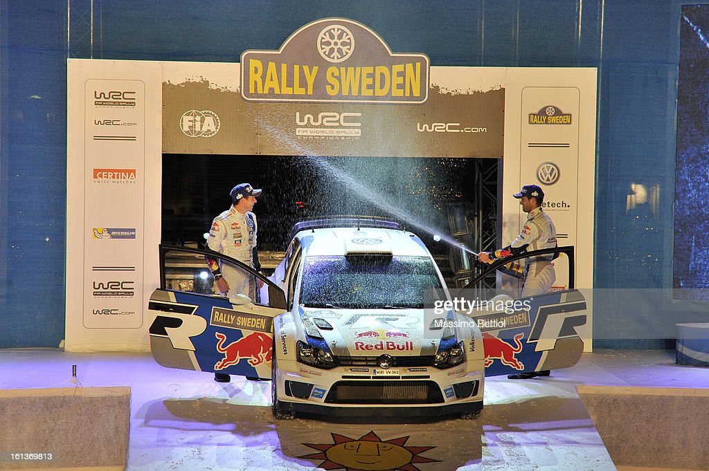 Sebastien Ogier of France and Julien Ingrassia of France celebrate their victory in the final podium during Day Three of the WRC Sweden on February 10 , 2013 in Karlstad , Sweden.