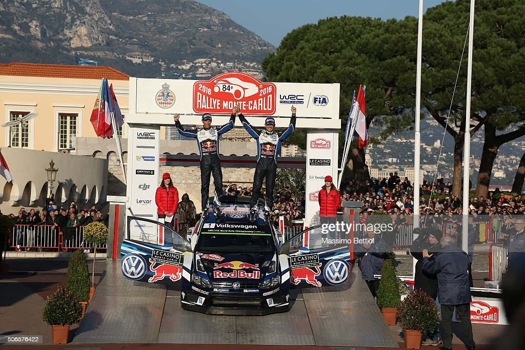 Sebastien Ogier of France and <a gi-track='captionPersonalityLinkClicked' href=/galleries/search?phrase=Julien+Ingrassia&family=editorial&specificpeople=4947850 ng-click='$event.stopPropagation()'>Julien Ingrassia</a> of France celebrate their victory during Day Four of the WRC Monte Carlo on January 24, 2016 in Gap, France.