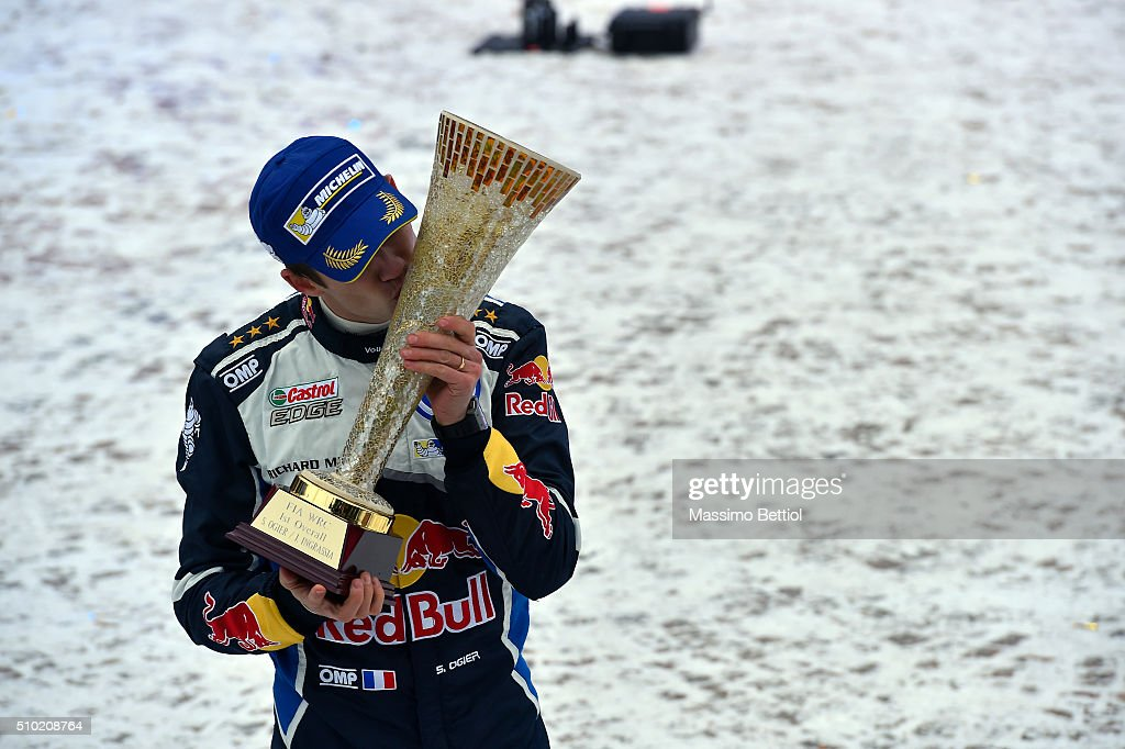 Sebastien Ogier of France and Julien Ingrassia of France celebrate their victory during Day Three of the WRC Sweden on February 14 2016 in Karlstad...