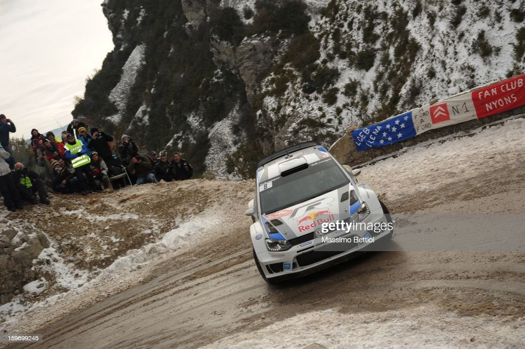 Sebastien Ogier of France and <a gi-track='captionPersonalityLinkClicked' href=/galleries/search?phrase=Julien+Ingrassia&family=editorial&specificpeople=4947850 ng-click='$event.stopPropagation()'>Julien Ingrassia</a> of France compete in their Volkswagen Motorsport Volkswagen Polo WRC during Day Three of the WRC Monte-Carlo on January 18 , 2013 in Montecarlo ,Monaco.
